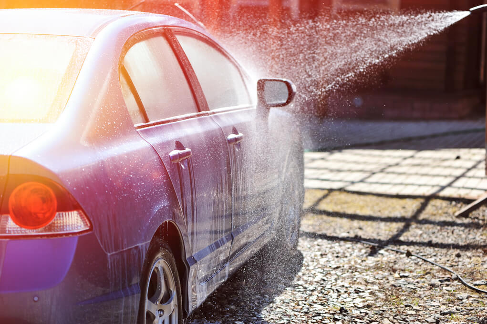 water rinsing ceramic car wash soap