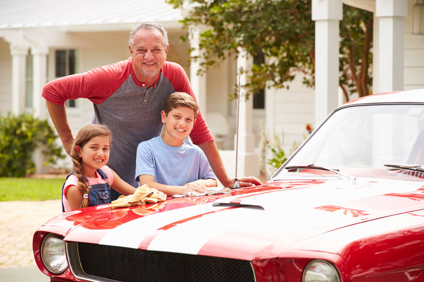 family happy after finishing car detailing